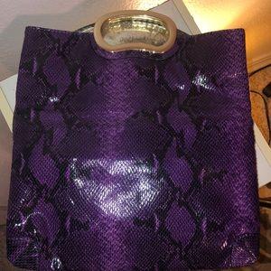Gianni Bini purple snakeskin clutch